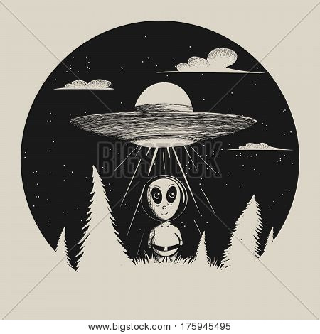 Vector illustration with alien.Sweet humanoid landed from UFO in forest