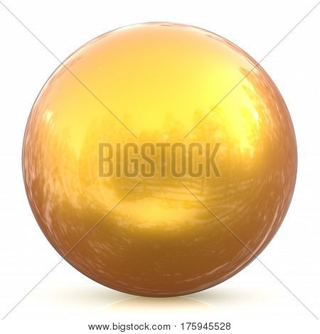 Sphere round button yellow sunny golden ball basic circle geometric shape solid figure simple minimalistic atom element single drop glossy sparkling object blank balloon icon. 3d render illustration