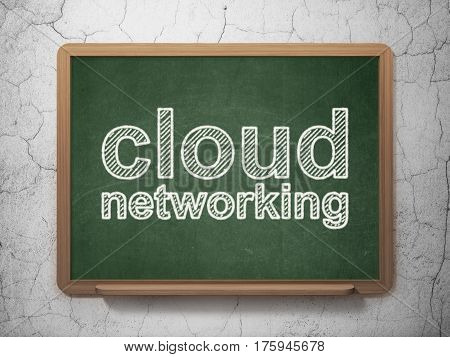 Cloud technology concept: text Cloud Networking on Green chalkboard on grunge wall background, 3D rendering