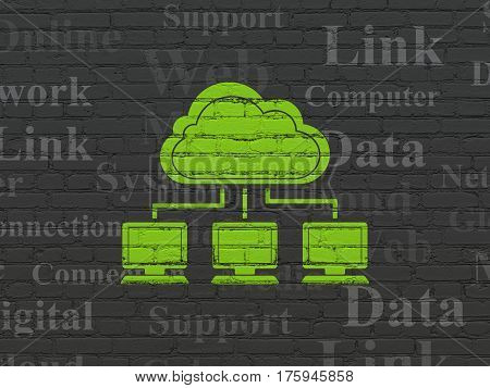 Cloud networking concept: Painted green Cloud Network icon on Black Brick wall background with  Tag Cloud
