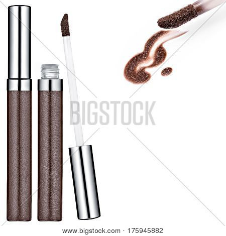 Brown Lip Gloss tube, sample, isolated on white background
