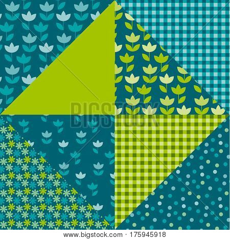 blue and green color tulip flower and geometry motif patchwork. simple assorted patch vector illustration design. seamless background for wrapping paper or fabric