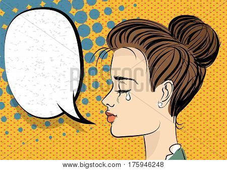 Beautiful brunette girl in style pop art crying. Comic book halftone background. Retro texture backdrop. Vector vintage dot back. Empty blank speech bubble. Comic text balloon box.