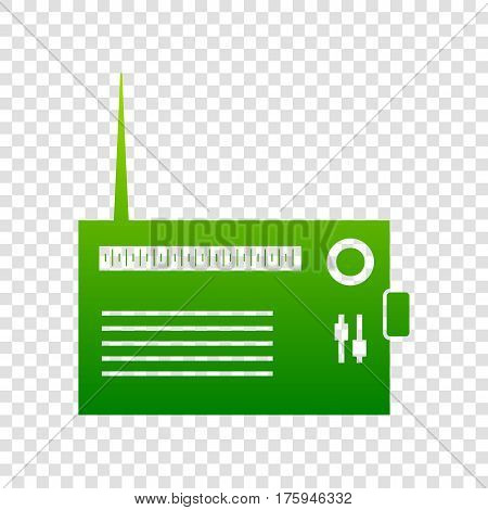 Radio Sign Illustration. Vector. Green Gradient Icon On Transparent Background.