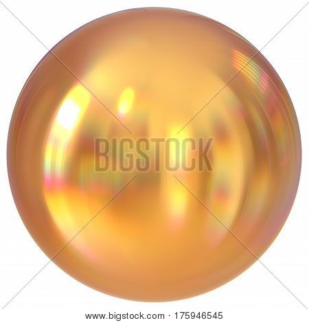Golden sphere round button ball basic yellow circle geometric shape solid figure simple minimalistic atom element single drop shiny glossy sparkling object blank balloon icon. 3d render illustration
