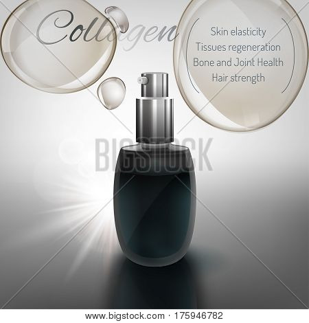 Transparent glass flacon with silver elements. Beautiful vector illustration in realistic style. Cosmetic, skin care or perfumery concept in dark blue and grey colours.