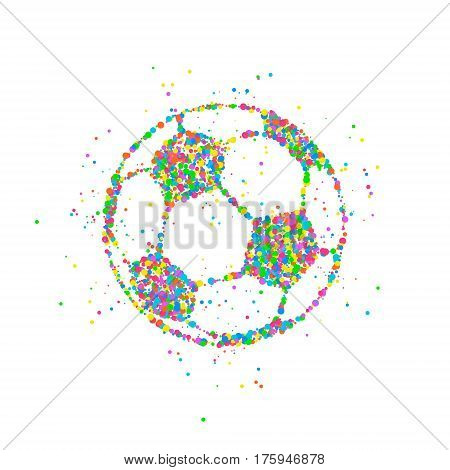 Abstract drawing of a soccer ball made from colorful circles. Vector illustration.