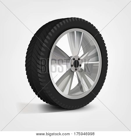 Car wheel in three-quarters. Beautiful realistic illustration isolated on a white background.