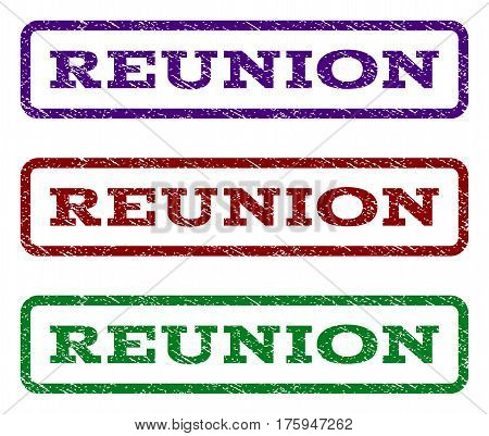 Reunion watermark stamp. Text tag inside rounded rectangle with grunge design style. Vector variants are indigo blue, red, green ink colors. Rubber seal stamp with dirty texture.