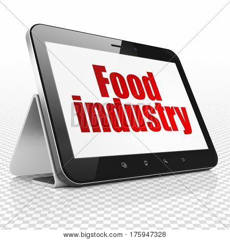 Manufacuring concept: Tablet Computer with red text Food Industry on display, 3D rendering