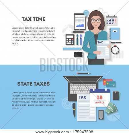 Set of horizontal banners with space for text, flute design with shadow. Icons of the accountant with the subjects of statistics and payment of taxes, the time of calculation and filing of tax return