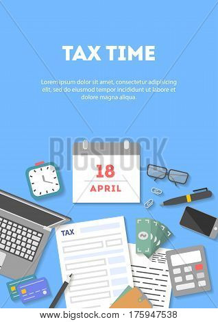 Vertical banner and icon set, flat design on blue background. Payment of tax. State taxes, statistics, calculation of tax return, top view. Objects workplace and devices for web, vector