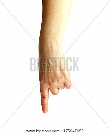 Female hand on a white background shows his hand.