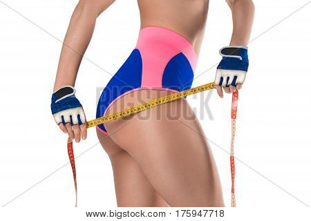 Ideal sports woman's butt and hips - perfect anti-cellulite and skin care therapy program. Isolated on white.