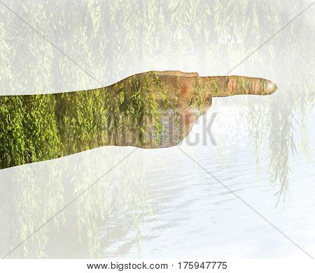 Female hand on a white background shows his hand.Double Exposure.