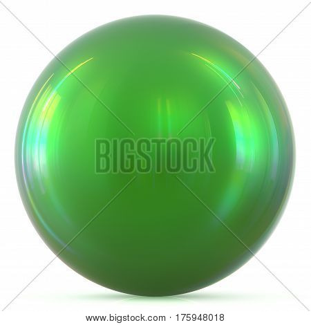 Ball green sphere round button basic circle geometric shape solid figure simple minimalistic atom element single drop shiny glossy sparkling object blank balloon icon. 3d render illustration isolated