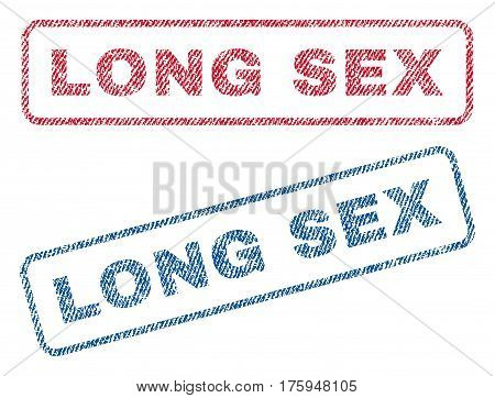 Long Sex text textile seal stamp watermarks. Blue red fabric vectorized texture. Vector caption inside rounded rectangular shape. Rubber sign with fiber textile structure.