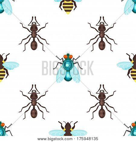 Vector flat style seamless pattern with ants, bees and fly. Icon for web. Isolated on white background. Children's wallpaper.