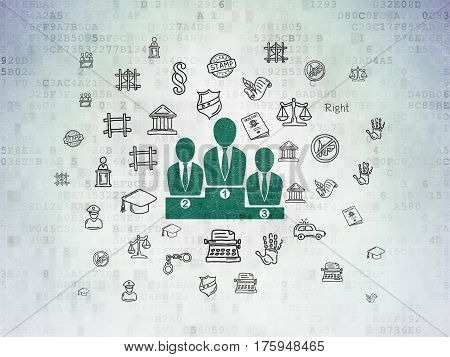 Law concept: Painted green Business Team icon on Digital Data Paper background with  Hand Drawn Law Icons