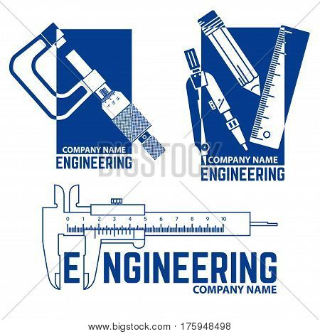 Set of Engineering Company Logo Template on the white background. Vector illustration. Engineering symbol for your web site design, logo, app, UI.