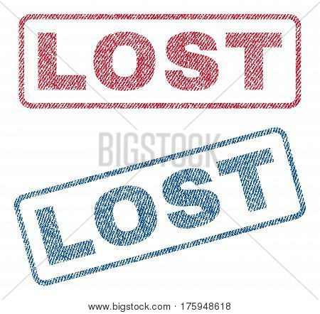 Lost text textile seal stamp watermarks. Blue red fabric vectorized texture. Vector caption inside rounded rectangular shape. Rubber sign with fiber textile structure.