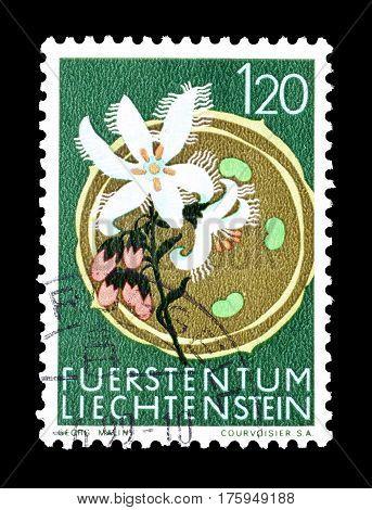 LIECHTENSTEIN - CIRCA 1970 :  Cancelled postage stamp printed by Liechtenstein, that shows Bogbean.
