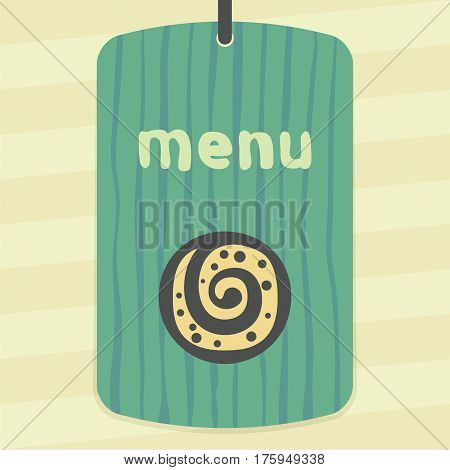 Vector outline sweet roll cookie food icon on label with hand drawn striped background. Elements for mobile concepts and web apps. Modern infographic logo and pictogram.