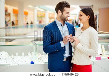 Handsome Man Buy Expensive Gift For His Woman. Happy Beautiful Young Woman With Her Success Boyfrien