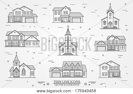 Set of thin line icon suburban american houses and churches. For web design and application interface, also useful for infographics. Vector illustration.