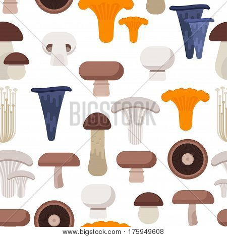 Vector flat style seamless pattern with various eatable mushrooms on white background.