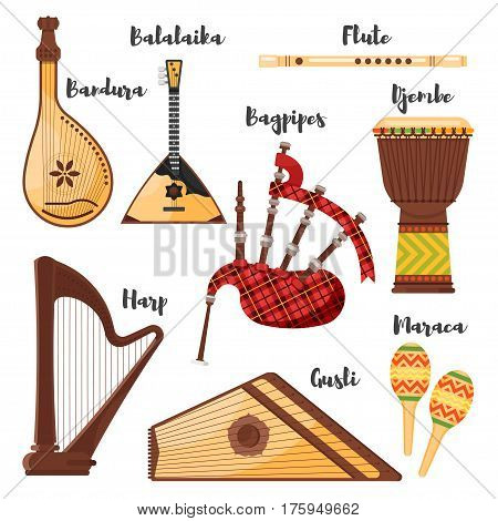 Vector flat style set of various traditional folk musical instruments. Icons for web. Isolated on white background.