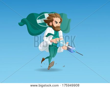 A illustration with an image of the running doctor-hero holding the main therapeutic weapon in his hands - a syringe with a healing injection.