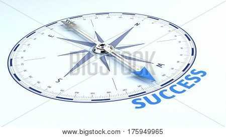 Success Business Concept - needle pointing the word success. 3d illustration
