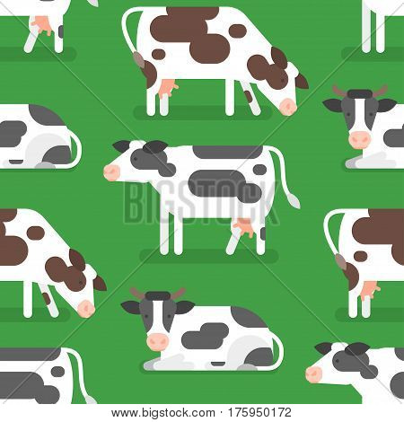Vector flat style seamless pattern with cow. Icon for web. Isolated on green background.