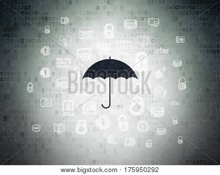 Privacy concept: Painted black Umbrella icon on Digital Data Paper background with  Hand Drawn Security Icons