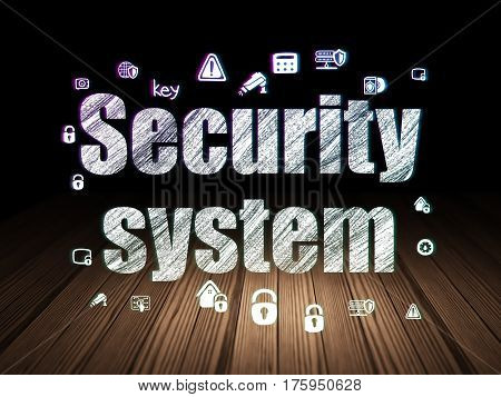 Security concept: Glowing text Security System,  Hand Drawn Security Icons in grunge dark room with Wooden Floor, black background