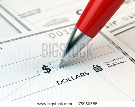 CLoseup of Red pen which is filling in the bank check - 3d rendering