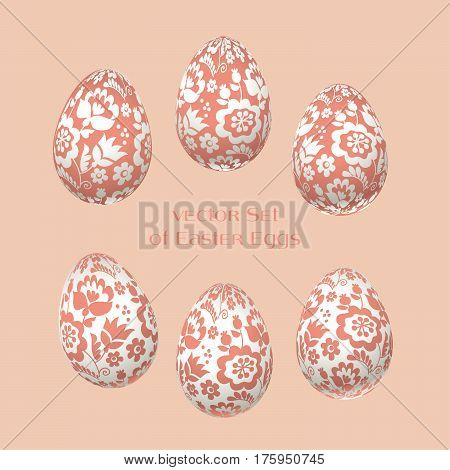 pale rosy Easter egg decoration vector illustration. floral folk-style decor on christian resurrection symbol. spring life icon in simple decorative style