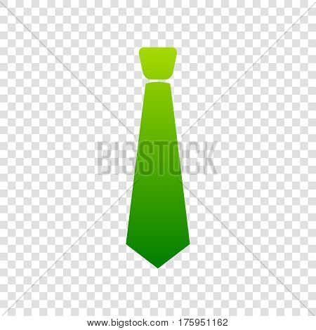 Tie Sign Illustration. Vector. Green Gradient Icon On Transparent Background.