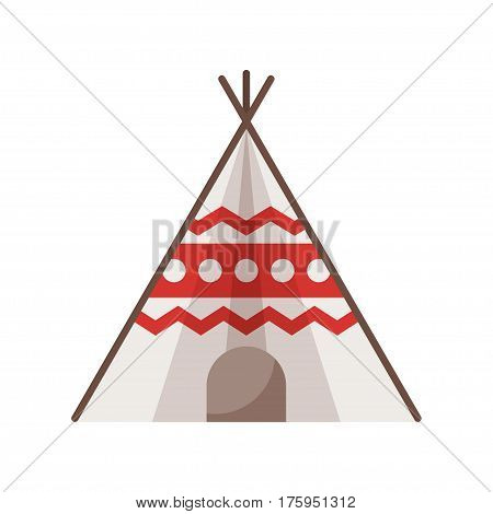 Vector flat style illustration of wigwam. Icon for web. Isolated on white background.