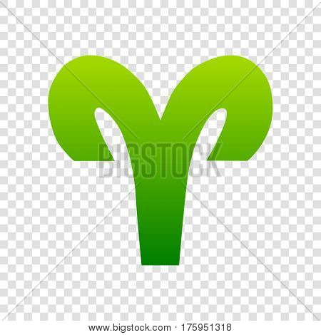 Aries Sign Illustration. Vector. Green Gradient Icon On Transparent Background.