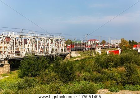 Sochi Lazarevskoye Russia - August 08 2016: Two-story train RZD passes through the resort of Lazarevskoe in Sochi Krasnodar Territory of Russia
