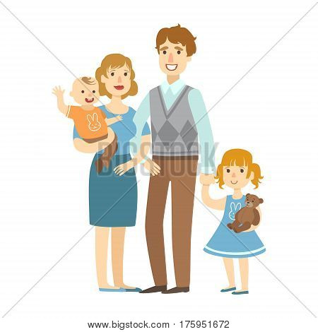 Father, Mother, Baby Boy And Little Daughter, , Illustration From Happy Loving Families Series. Smiling Cartoon Characters Together With Their Family Members Vector Drawing.