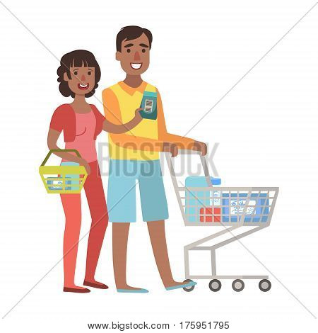 Man And Woman Shopping For Groceries In Supermarket With Shopping Cart, Illustration From Happy Loving Families Series. Smiling Cartoon Characters Together With Their Family Members Vector Drawing.