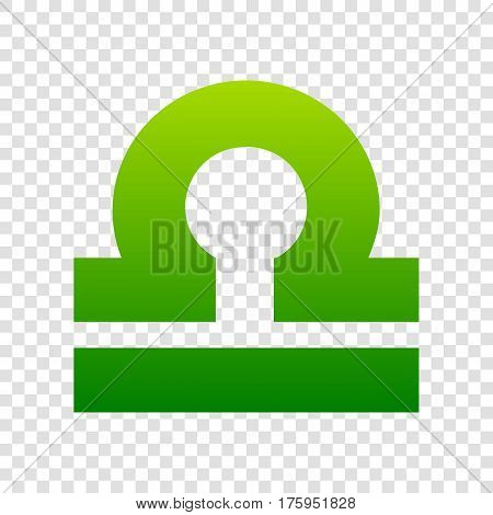 Libra Sign Illustration. Vector. Green Gradient Icon On Transparent Background.