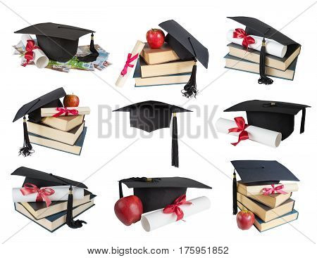 Set of images of black graduate hat stack of big books apple and paper scroll tied with red ribbon with a bow isolated on white background