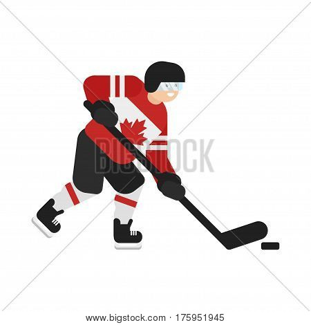 Vector flat style illustration of Canadian hockey player. Icon for web. Isolated on white background.