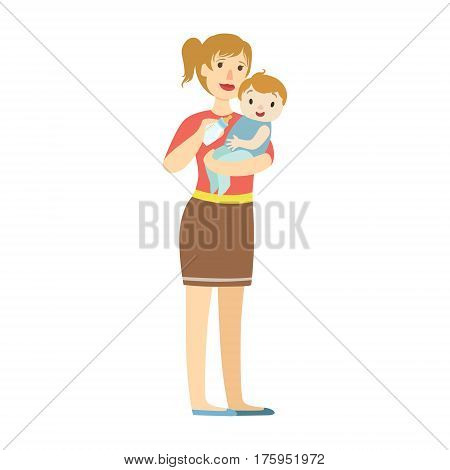 Mather With Baby In Sling Feeding Boy With Milk Bottle, Illustration From Happy Loving Families Series. Smiling Cartoon Characters Together With Their Family Members Vector Drawing.
