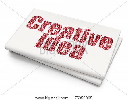 Business concept: Pixelated red text Creative Idea on Blank Newspaper background, 3D rendering