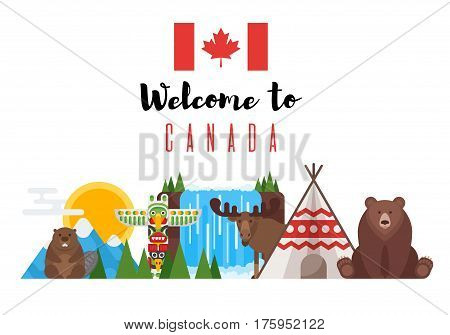 Vector flat style set of Canadian national objects. Icon for web. Isolated on white background.